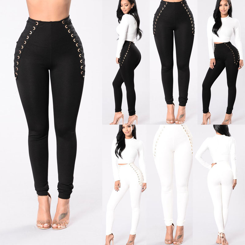 Casual New High Waisted Thick Leggings Jeggings Stretch Skinny Black White Pants