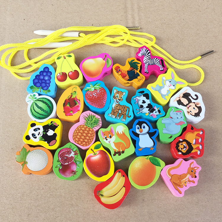 Hand-Eye Coordination Wood Beaded Bracelet String Music Toy Wooden With Numbers Fruit Animal Beads Early Education