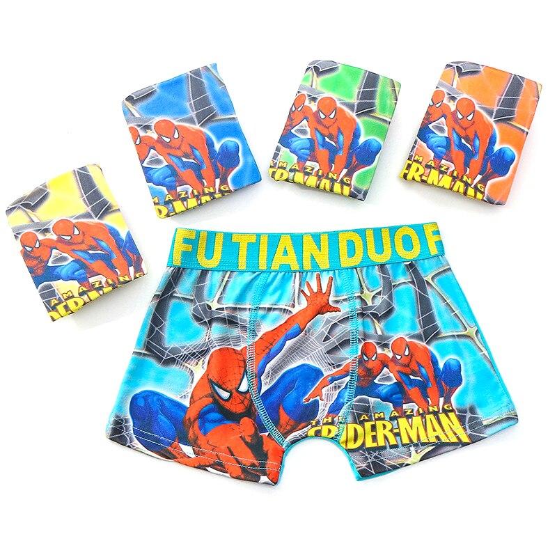 1Pcs/Lot Boys Boxer Shorts Children Cotton Underwear Cartoon Spiderman Boys Underpants Kids Comfortable Cool Panties Fashion