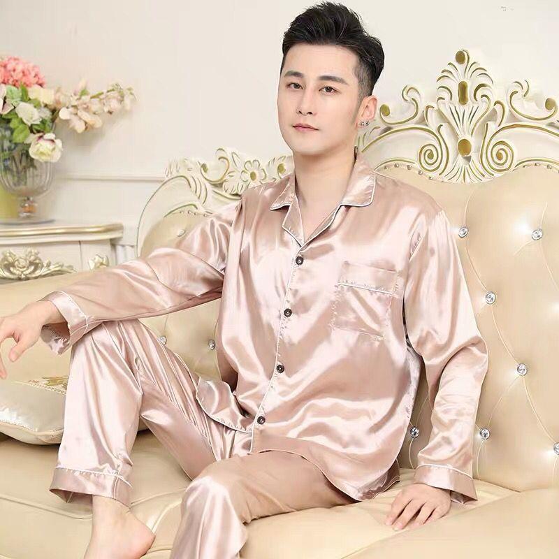 Solid Satin Men Pajamas Set Summer Long Sleeve Autumn Homewear Silk Men Sleepwear Suit Casual Two-Piece Pyjamas Male L-XXXL