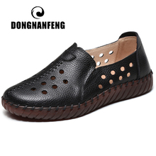 dongnanfeng women female old mother shoes flats loafers casual slip on cow genuine leather pu bow round toe spring 34 43 qbl 922 DONGNANFENG Women Female Ladies Mother Genuine Leather Flats Sandals Loafers Shoes Hollow Slip On Summer Size 35-41 YYK-8852