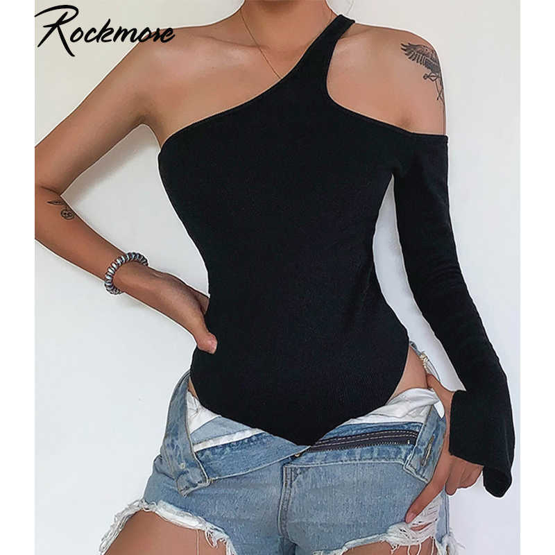 Rockmore Off Shoulder Sexy Bodysuits Women Single Long Sleeve Gothic Backless Halterneck  Autumn Femme Playsuits Club Streetwear