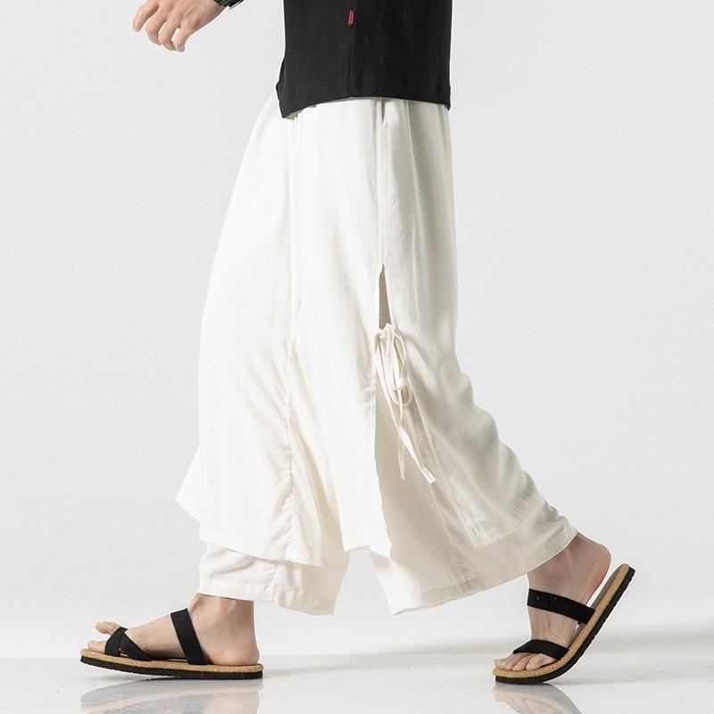 Retro Track Pants Solid Color Cotton Linen Mens Wide Leg Tai Chi Trousers Kung Fu Pants Japanese Trousers Kimono Pants KK2977