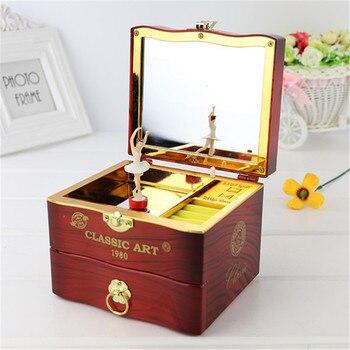 Classic Rotating Dancer Ballerina Piano Music Box Clockwork Plastic Jewelry Box Girls Hand Crank Music
