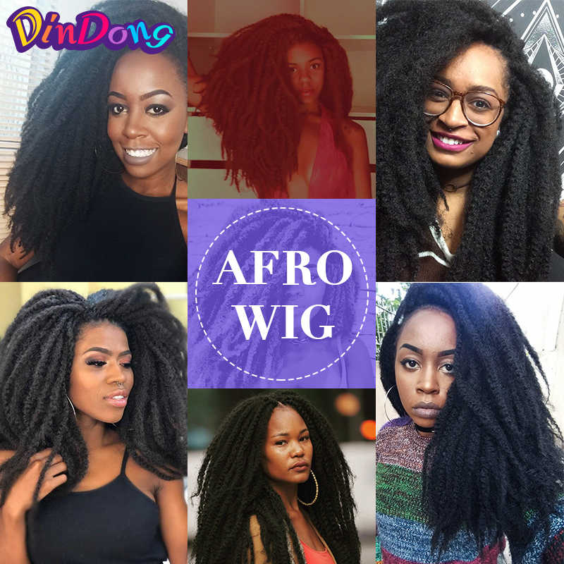 Dindong marley peruca trançada de cabelo, 18 polegadas, sintético, dreadlock marley, macia, afro, natural, trança para mulheres homens