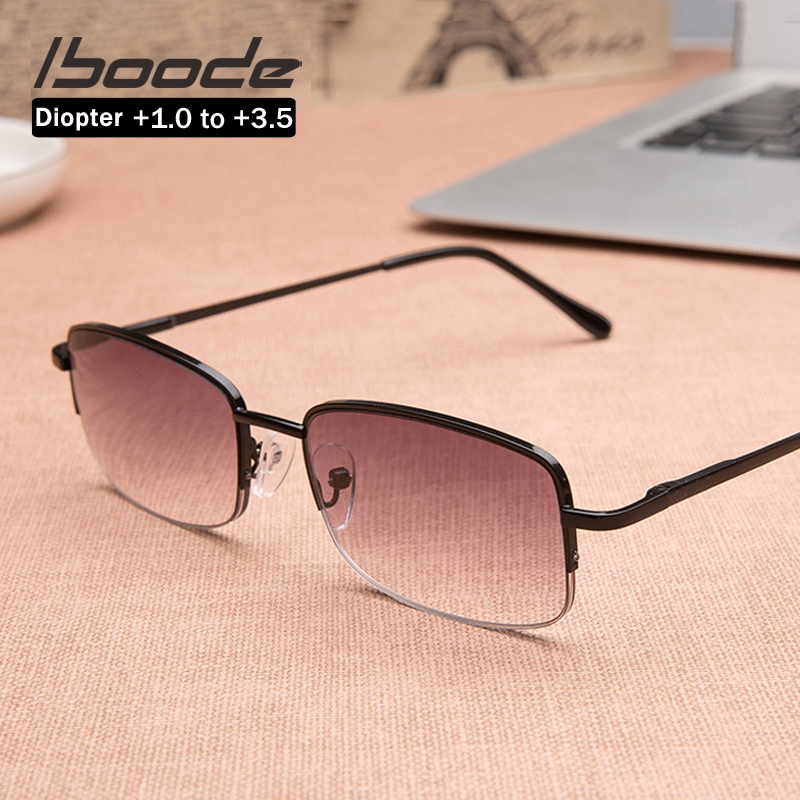 Iboode Classic Men Women Reading Sunglasses With Diopters +1.0 1.5 2.0 2.5 3.0 Square Metal Frame Sun Glasses Presbyopia Eyewear