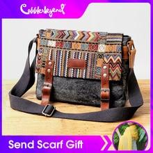 Vintage Canvas Travel Messenger Bag Women Chinese Style Shoulder Bag Male Casual National Bag Embossed Crossbody Bag