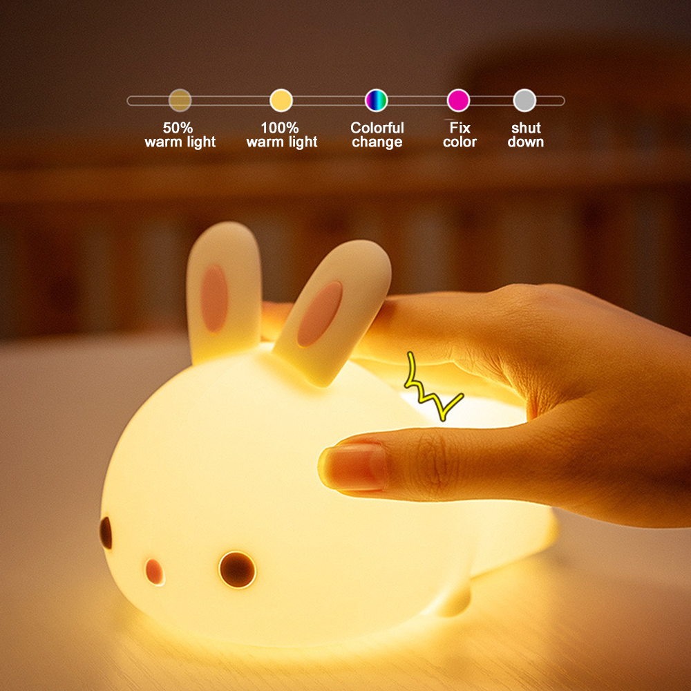 LEADLY Lying Rabbit LED Night Light Silicone Animal Cartoon Lamp USB Remote Control For Children Kid Baby Gift Bedside Bedroom