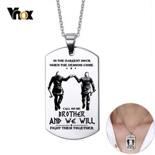 Vnox Customize 316L Stainless Steel Dog Tag for Men Viking Brothers Tough Man BFF Necklaces Gift for Him