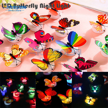 Colorful Changing Butterfly LED Night Light Desk Wall Decor Lamp Home Living Kid Room Bedroom Decoration Lights Easy Installatio image