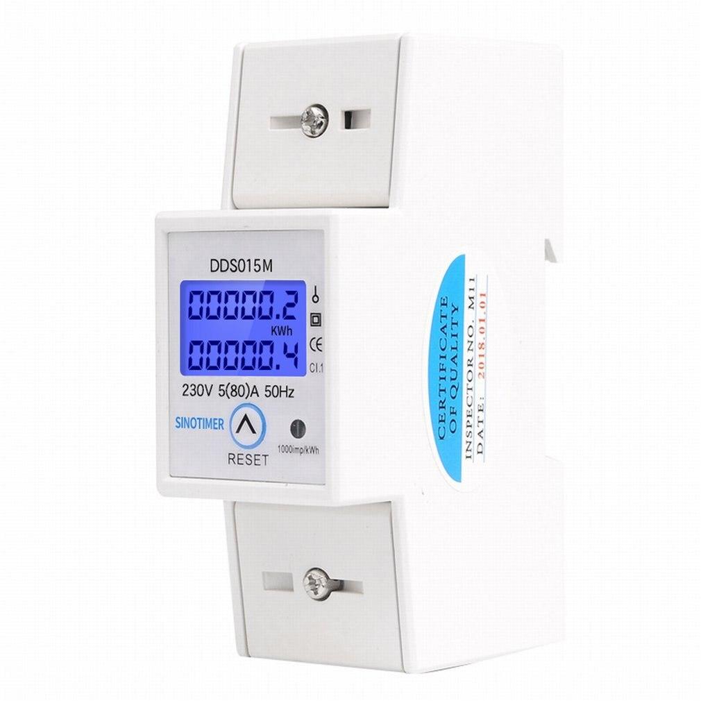 DIN Rail 5-80A ca 230V 50Hz monophasé wattmètre consommation d'énergie Watt compteur d'énergie électrique kWh avec fonction de réinitialisation