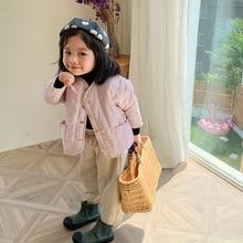 Осень зима 2019, Новое поступление, хлопковое утолщенное Свободное пальто в Корейском стиле с большими карманами для крутых маленьких девочек и мальчиков