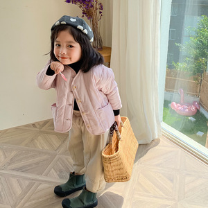 Image 1 - 2019 가을과 겨울 새로운 도착 한국 스타일 면화 멋진 아기 소녀와 소년을위한 큰 주머니와 느슨한 패션 코트를 두껍게