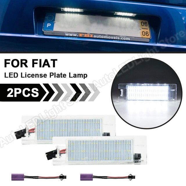 2Pcs LEDจำนวนใบอนุญาตLight PlateสำหรับFiat Multipla Croma Grande Punto Tipo Punto Seicento Doblo Marea Linea Brava alfa Romeo