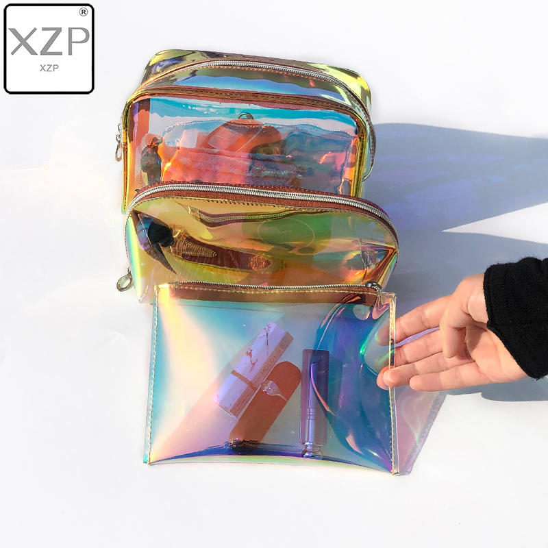 XZP 1PC Laser Cosmetic Bag Women Makeup Case PVC Transparent Beauty Organizer Pouch Female Jelly Bag Lady Make Up Pouch