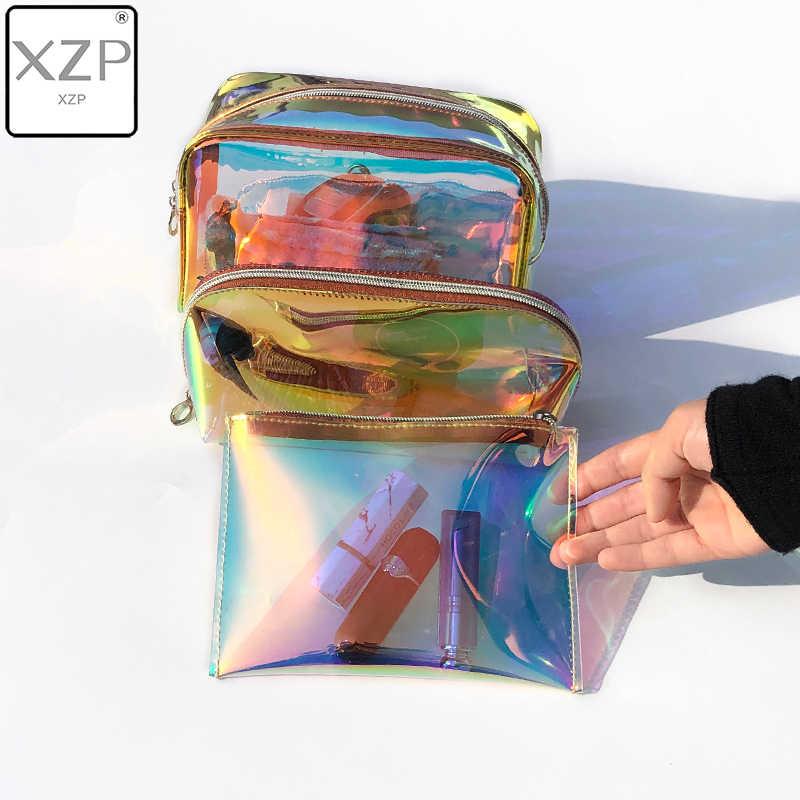 XZP 1PC laserowa kosmetyczka kobiety torba na kosmetyki PVC przezroczyste kosmetyczny organizator etui kobiet torebka typu Jelly Bag Lady torba na przybory do makijażu