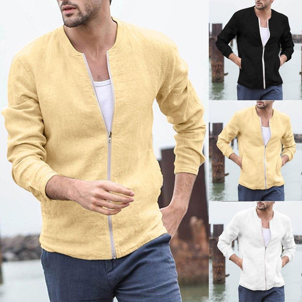 Dropshipping Casual Tops Plus Size  Fashion Men's Autumn Winter Cotton Blend Zipper Long Sleeve Coat Top Blouse Outwear  Wo Man