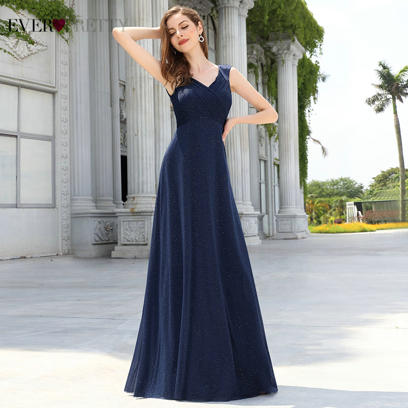 Evening Gowns Ever Pretty Navy Blue Elegant A Line V Neck Cap Sleeve Pleated Glitter Long Evening Dress 2020 Formal Robe Longue