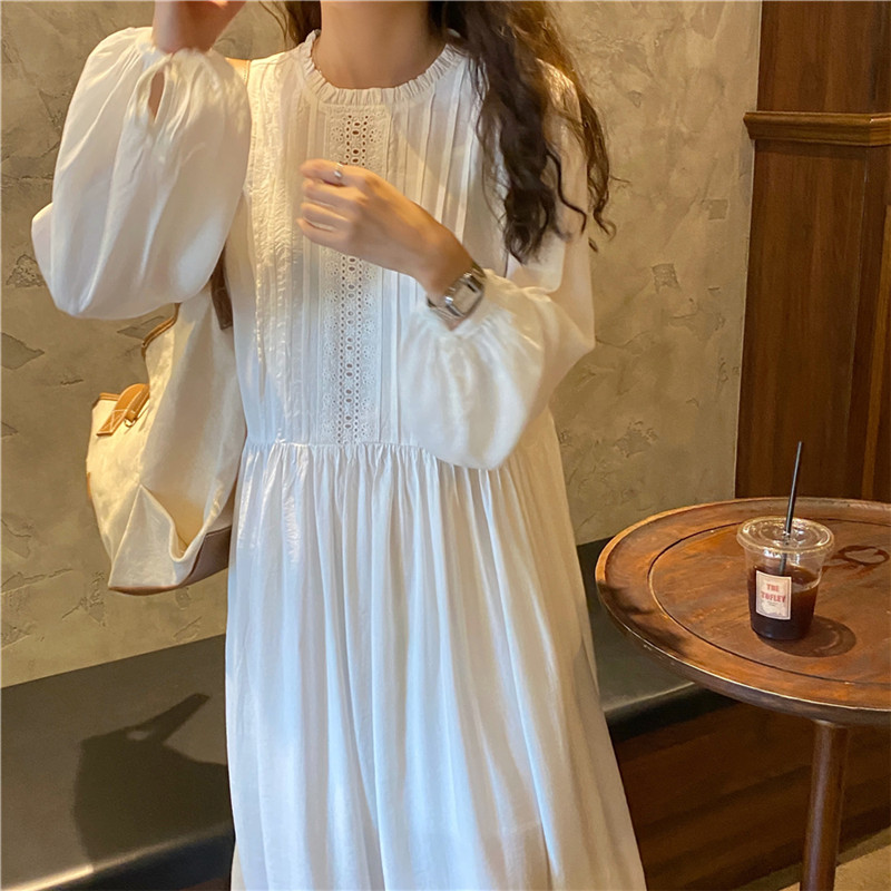 H87f945121472411493a4a4dd981824642 - Autumn O-Neck Lantern Sleeves Loose Lace Solid Dress