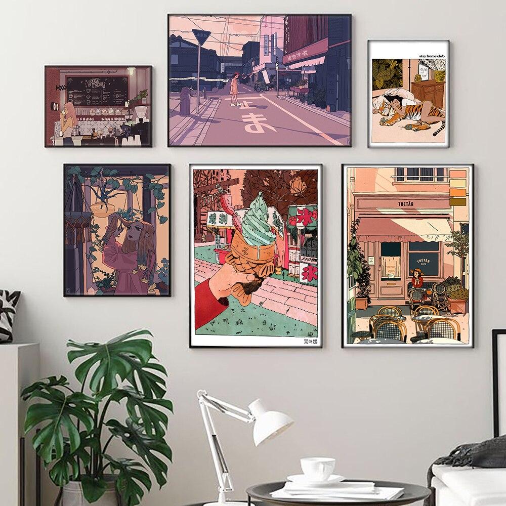 Мультяшное аниме, разноцветная настенная Картина на холсте, картины в виде кофейни, постеры с мороженым и принтами, галерея, детский Декор для кухни