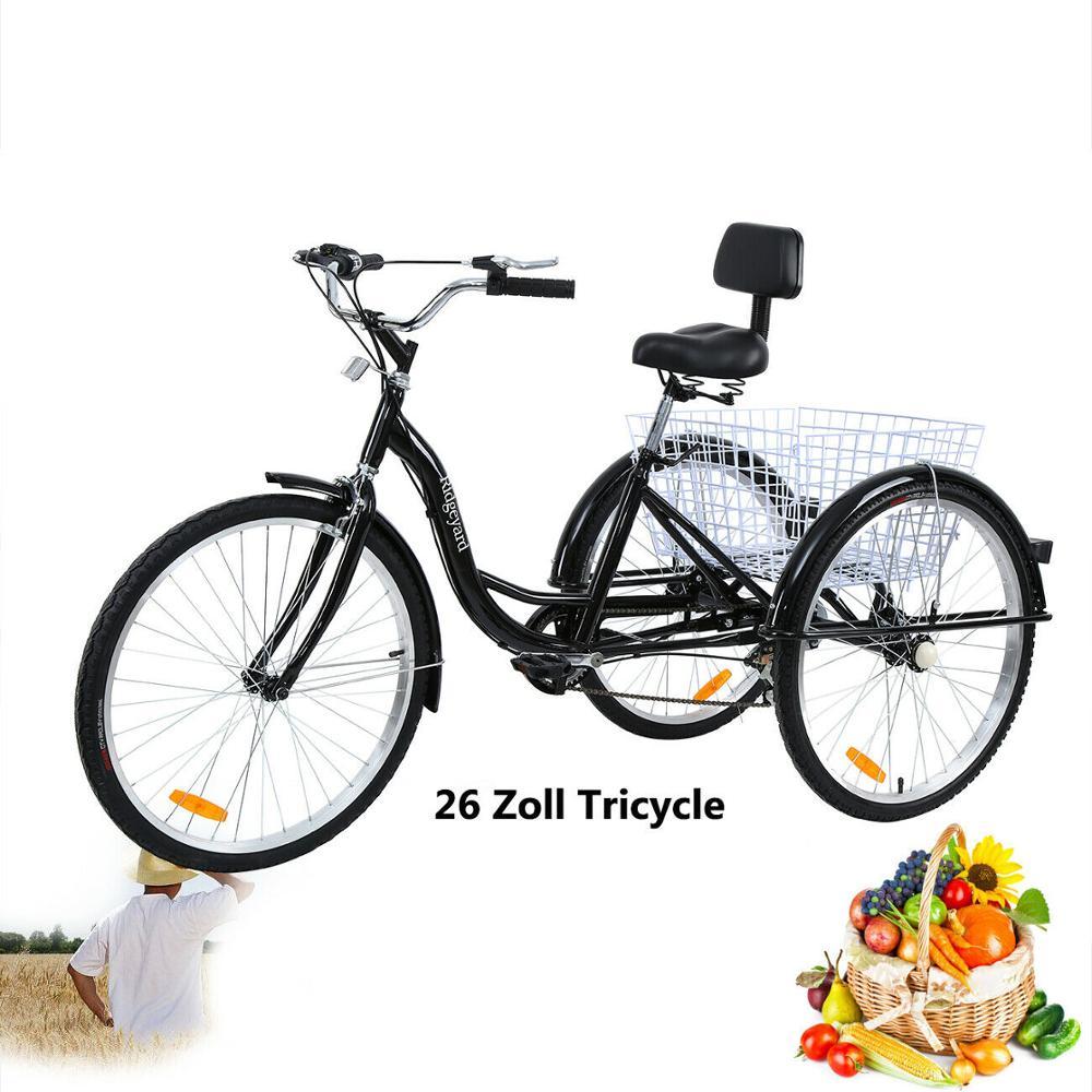 Tricycle pour adulte 26 6 vitesses 3 roues pour seniors shopping femme et adulte Tricycle avec panier noir excursion sport