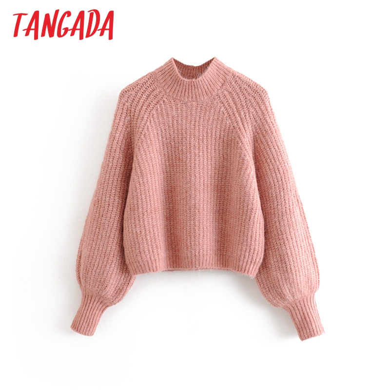 Tangada Korea Chic Puff Sleeve Turtleneck Sweater For Woman Short Style Ladies Candy Color Sweet Knitted Jumper Tops 3H51