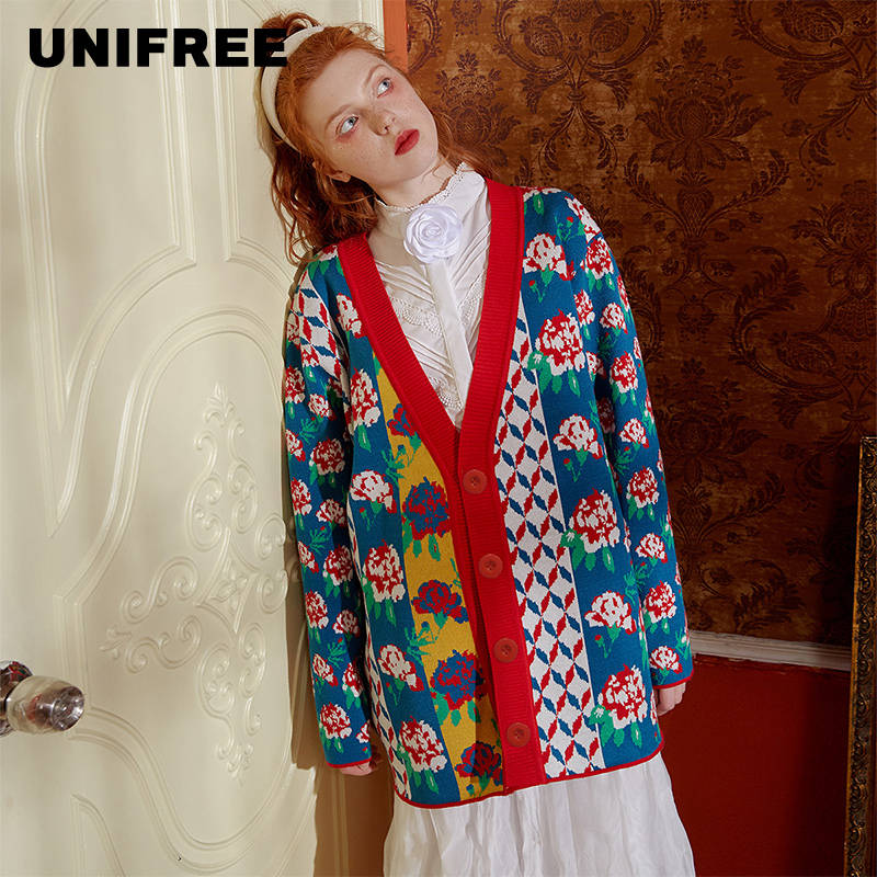 UNIFREEV Collar Single Breasted Long Sleeve Women's Knitwear Top 2019 New U194N751HT