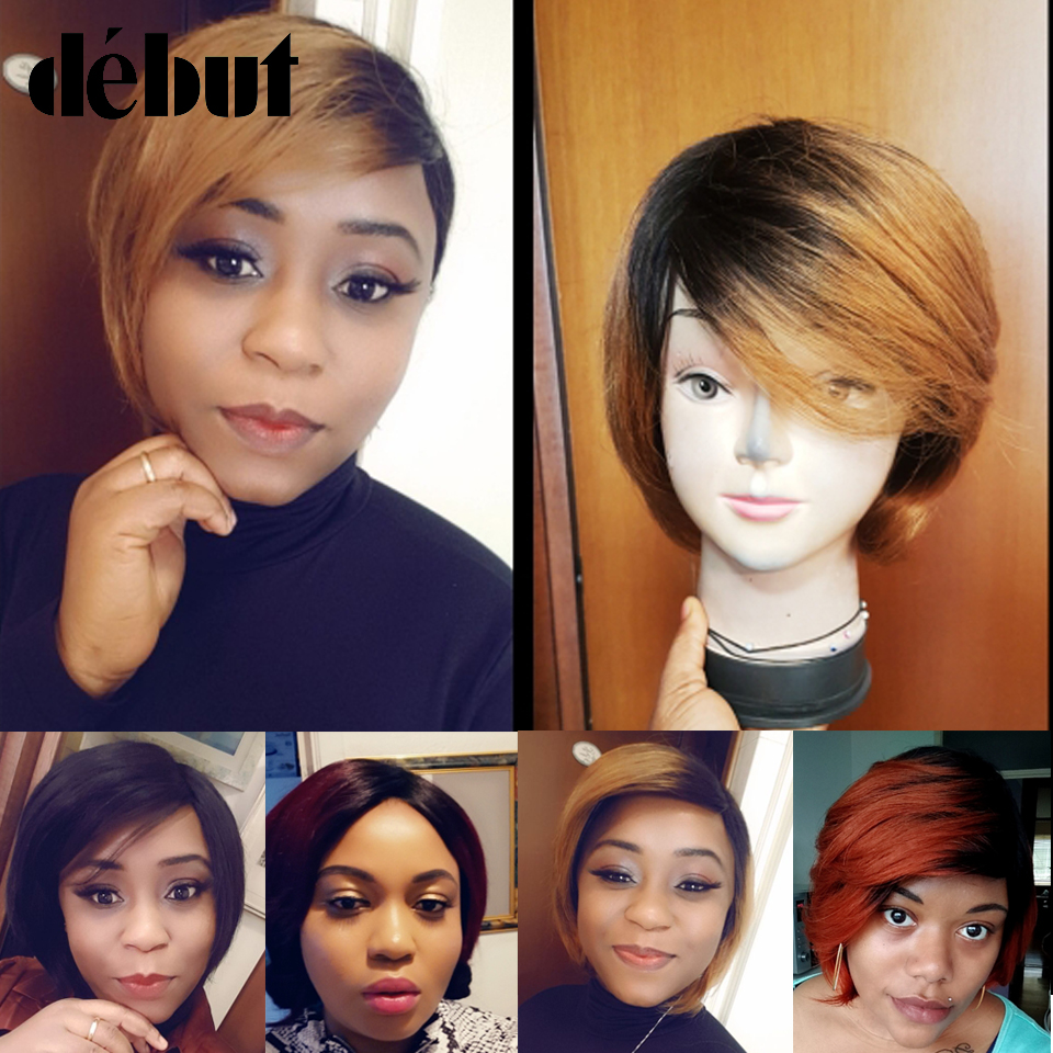 Debut Ombre Human Hair Wigs Brazilian Short Bob Wigs Human Hair TT2/27 Cheap Remy Short Human Hair Wigs For Black Women