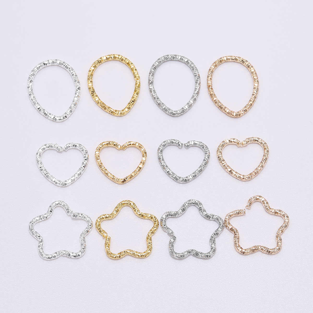 50pcs/lot 16.5mm New Style Silver Gold star Jump Rings Twisted Split Rings Spacer Connectors For Jewelry Making Making Supplies