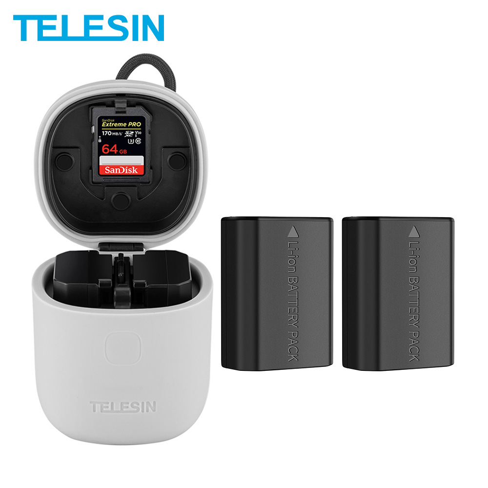 TELESIN 2Pack NP-FZ100 Battery + 3 In 1 Dual Slots Charger SD Card Reader Storage Box For Sony A9 A7M3 A7R3 A7R4 A7R III ILCE-9