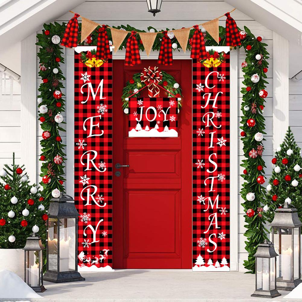 DishyKooker Merry Christmas Porch Sign Couplet Hanging Banners for Holiday Home Indoor Outdoor Decoration