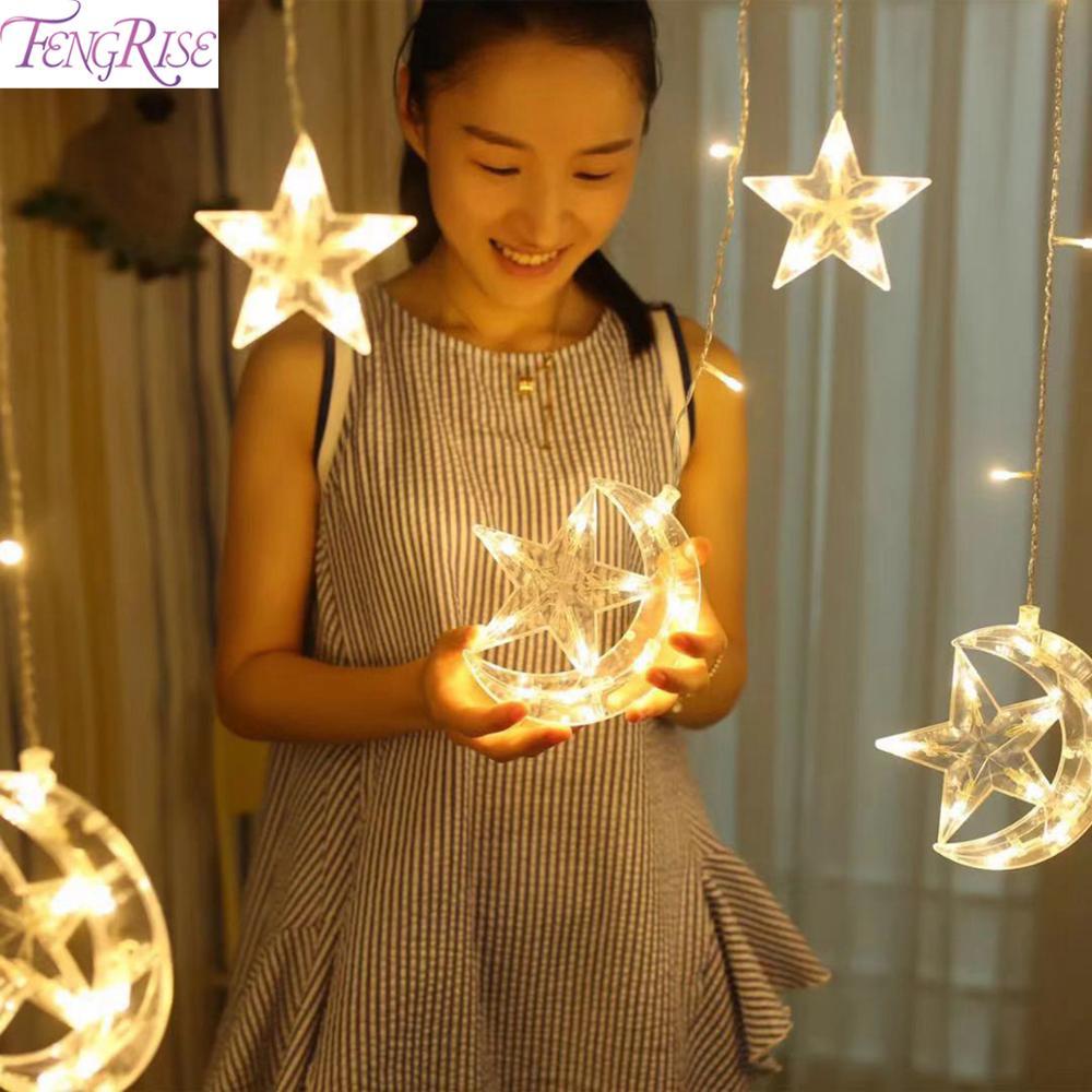 FENGRISE Eid Mubarak Decor Moon Star LED String Light Ramadan Decor Islamic Muslim Party Decor Ramadan Light Gift Eid Al Adha