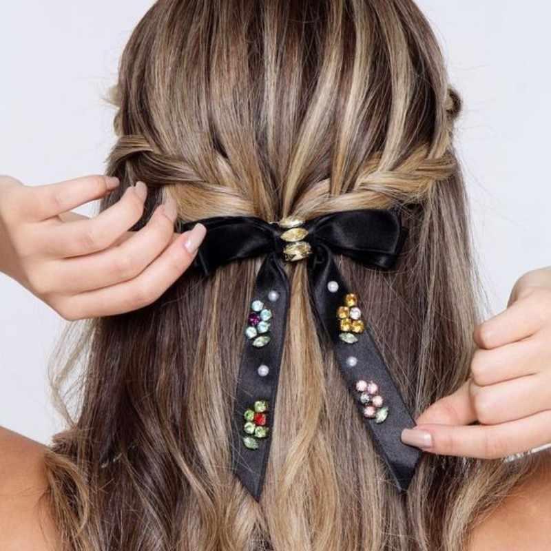 Xugar Mode Strass Bogen Haar Clips Samt Perle Diamant Haarnadeln Für Mädchen Kristall Knoten Barrettes Frauen Haar Zubehör