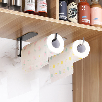 Kitchen Large Roll Paper Self Adhesive Wall Mount Toilet Paper Holder Bathroom Tissue Towel Accessories Rack Holders no drill self adhesive toilet paper holder stainless steel bathroom kitchen roll paper accessory tissue towel rack metal holders