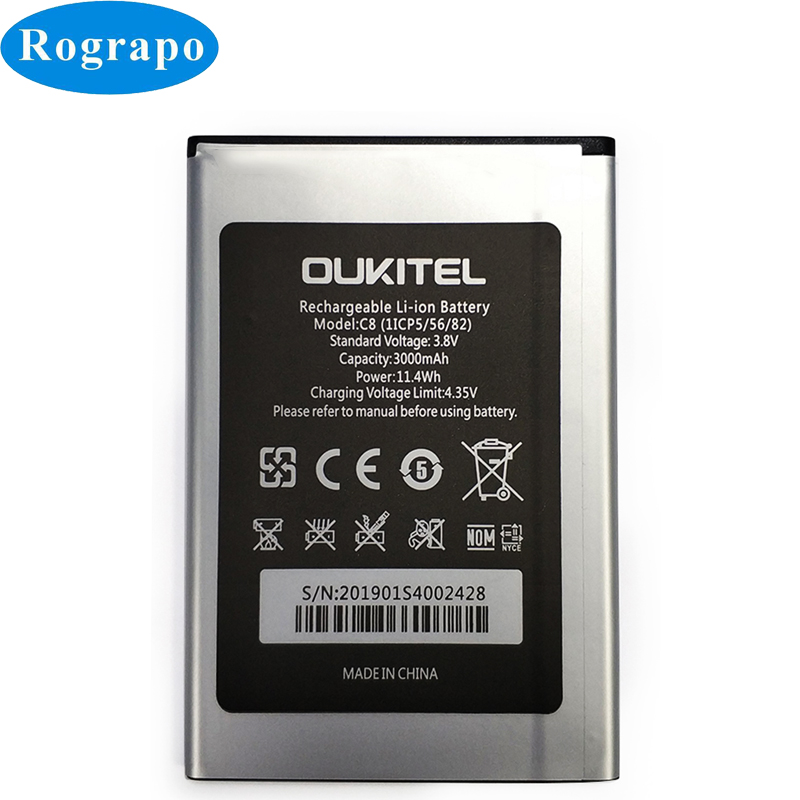 New 3000mAh C8 High Quality Replacement Battery For Oukitel C8 Bateria Batterie Baterij Cellphone Mobile Phone Batteries