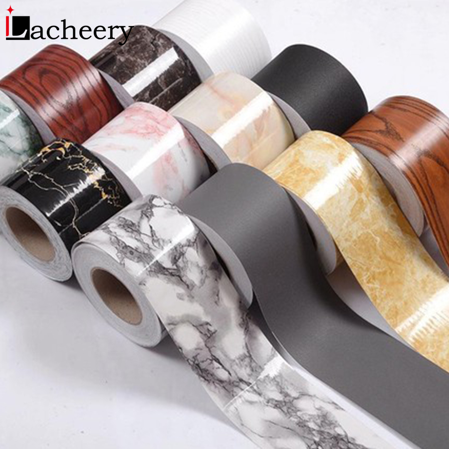 10M Waist Line Wall Stickers Wood Marble Baseboard Waterproof Self-Adhesive Kitchen Corner Border Wallpaper Tile Decorative Film