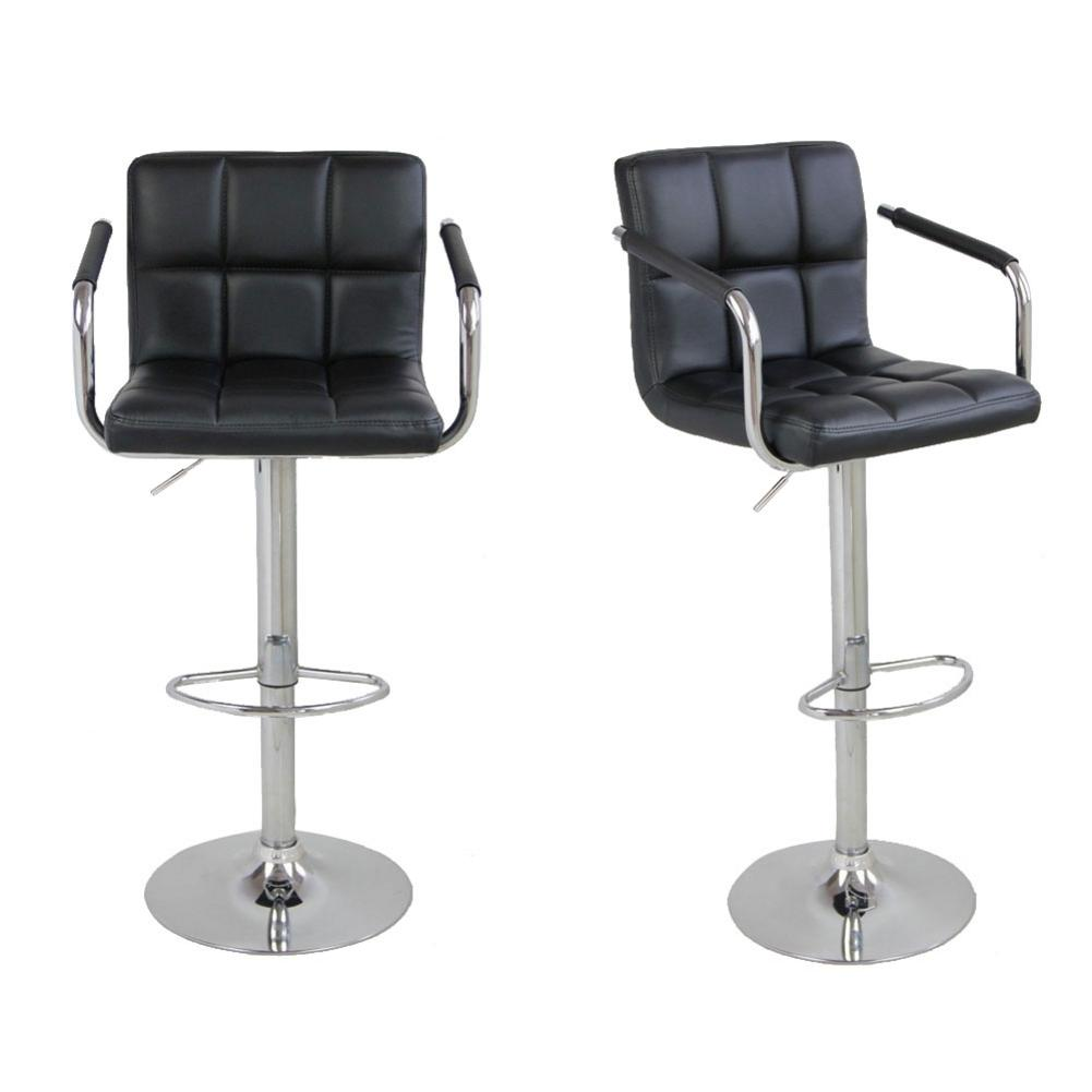 Hight Quality 2pcs SSJ-891 60-80cm 6 Checks Round Cushion Bar Stools With Armrest Black Dropship
