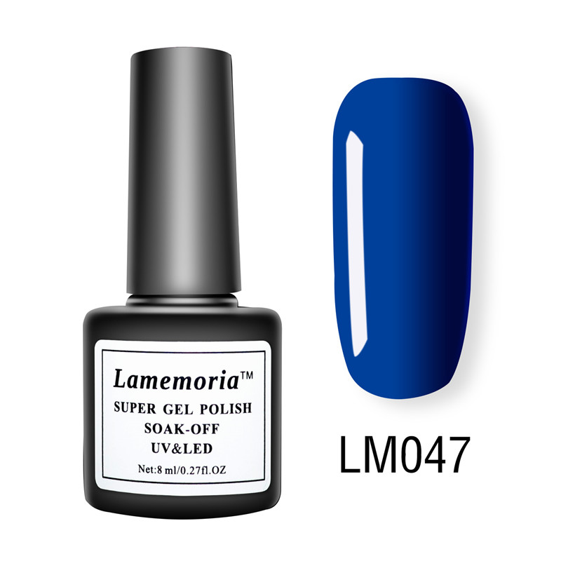 Lamemoria 8ml UV Gel Nail Polish Pure Color Red Blue Gel Lak Professional Color Varnish Soak Off Nail Art Polish Matt Top Liquid in Nail Polish from Beauty Health