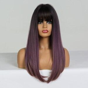 Image 4 - ALAN EATON Bộ Tóc Giả Dài Thẳng với Nổ Đen Tím hoa cà Nâu Ombre Tổng Hợp Tóc Giả Dành cho Người Phụ Nữ Chịu Nhiệt Cosplay bộ tóc giả