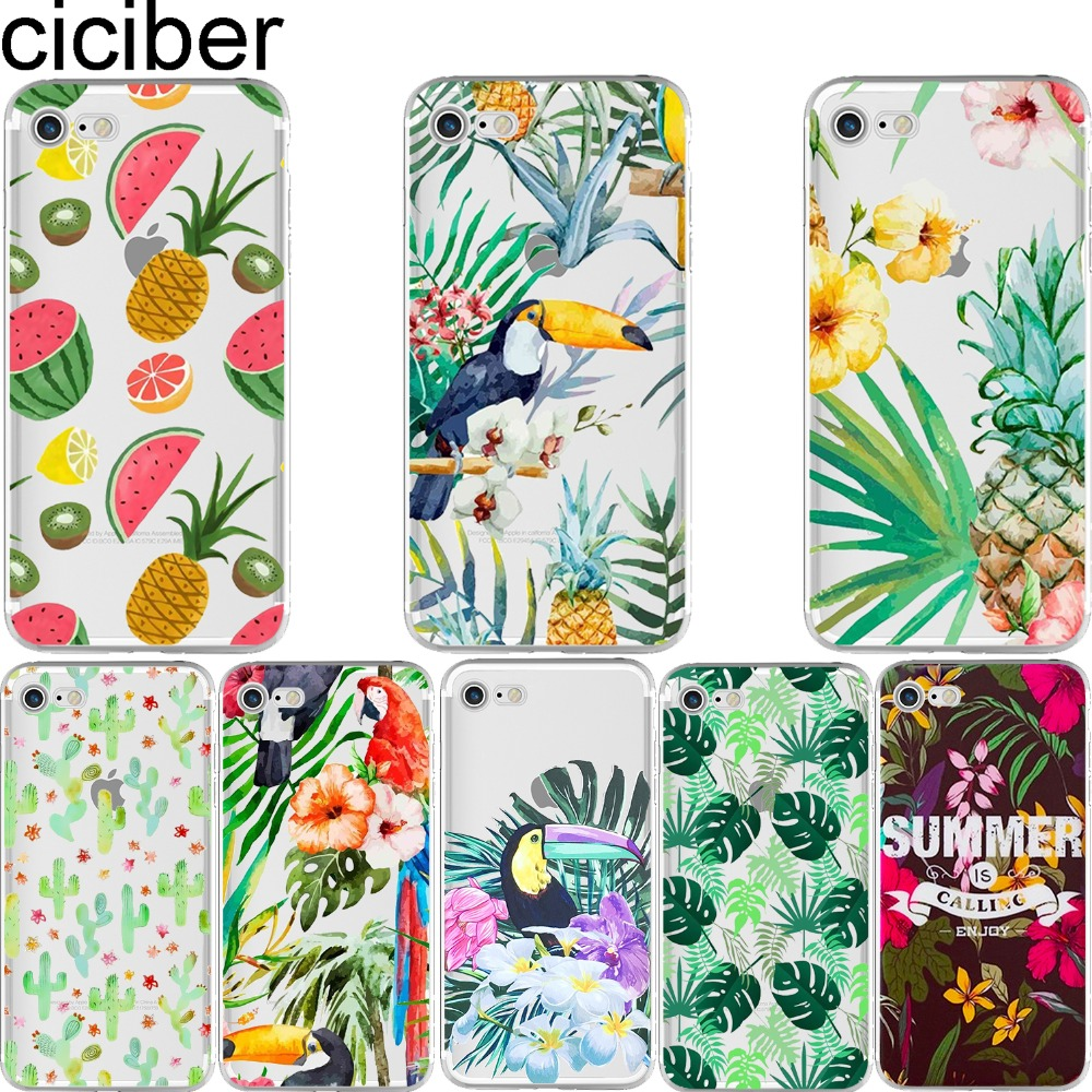 ciciber Handyhüllen Summer Fruit Flower Tukan Ananasblätter Kaktus Soft Case Hülle für iPhone 6 6S 7 8 plus 5S SE X Coque
