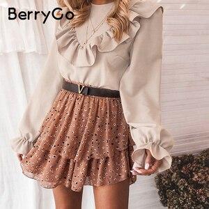 Image 1 - Женская блузка с рюшами BerryGo, Элегантная блузка Футболка с круглым вырезом на шнуровке сзади, весенне летний повседневный топ с длинными рукавами фонариками