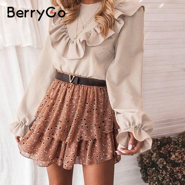Женская блузка с рюшами BerryGo, Элегантная блузка Футболка с круглым вырезом на шнуровке сзади, весенне летний повседневный топ с длинными рукавами фонариками