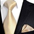卸売固体チェック花淡黄色シャンパンゴールド男性のネクタイセットネクタイポケット正方形 100% シルクジャカード織