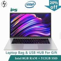 LHMZNIY 15.6 pouces étudiant ordinateur portable 8GB RAM 256GB 512GB SSD ordinateur portable intel J3455 Quad Core Ultrabook avec Webcam Bluetooth WiFi