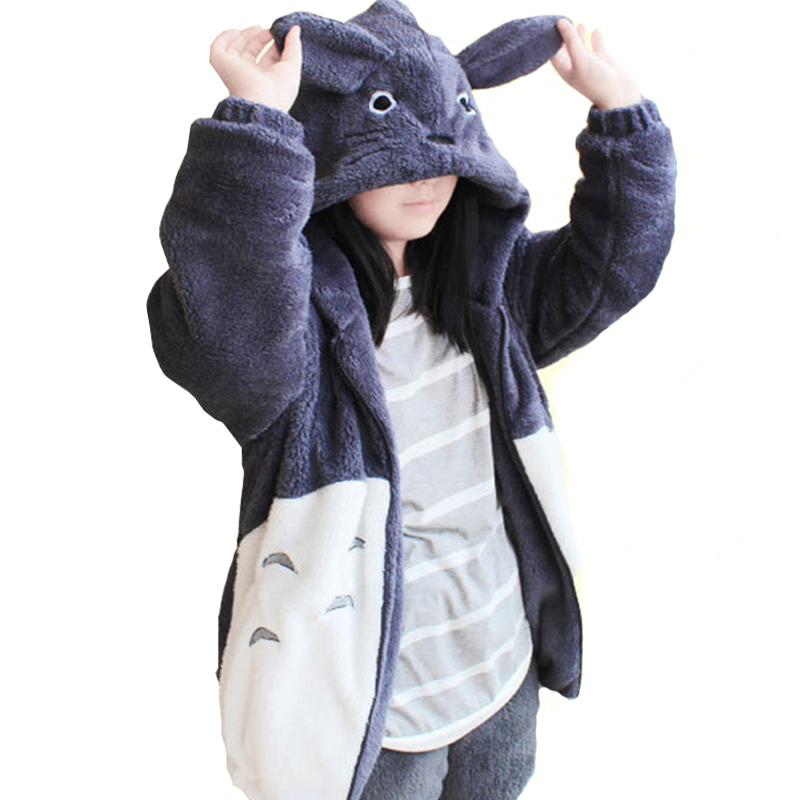 Hooded Sweatshirt Kawaii Totoro Men Women Harajuku Soft Plush Hoodies Plus Size Oversized Cosplay Jacket Coat Loose Sweatshirt