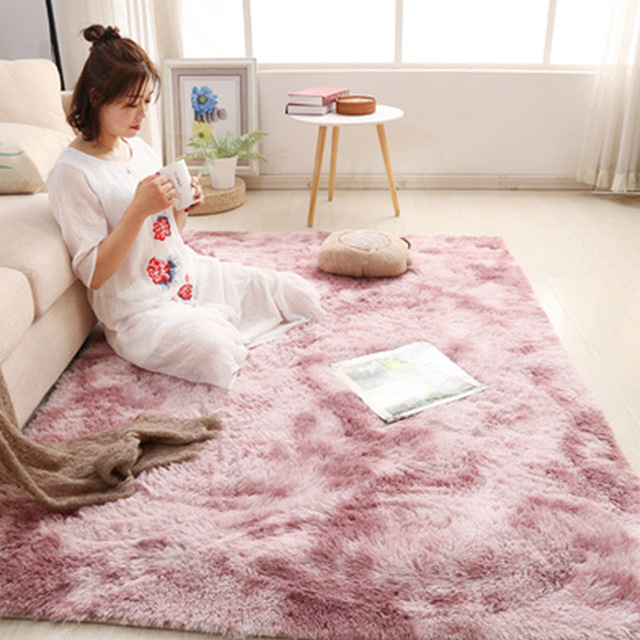 Pink Thick Plush Carpet for Living Room Fluffy Rug Bed Room Carpets Anti-slip Floor Soft Rugs Tie Dyeing Carpets Kids Room Mat 2