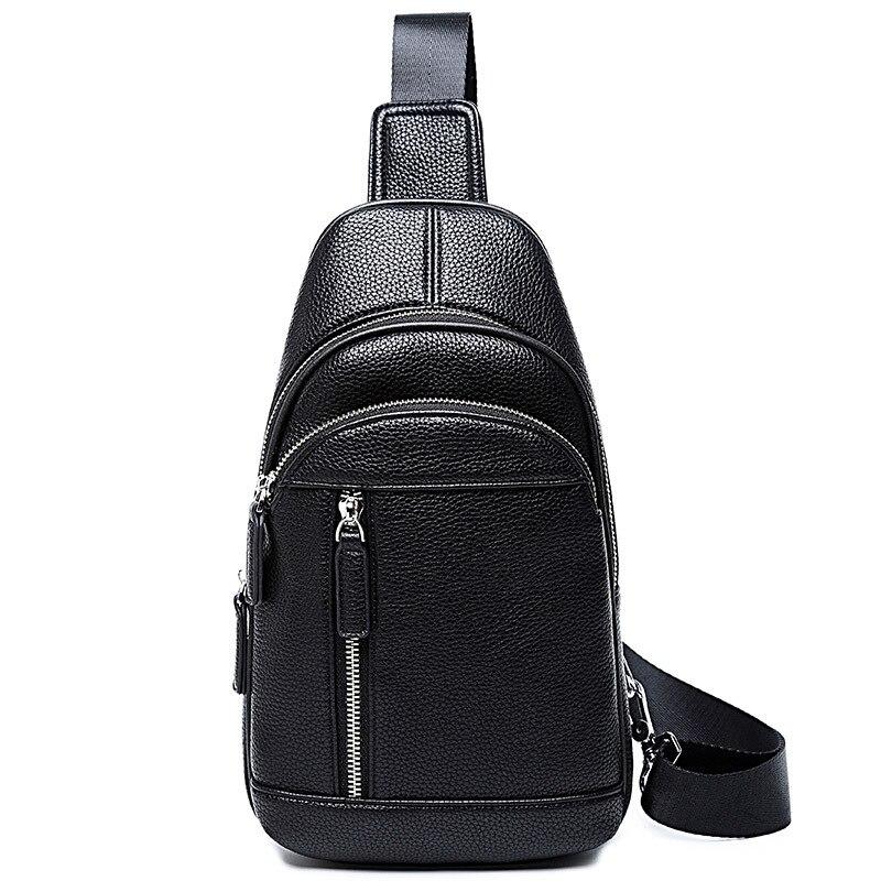 New Style Chest Pack Men Korean-style Casual Shoulder Bag Sports Backpack Fashion Shoulder Bag Pu Hide Substance Men's Bag Fashi