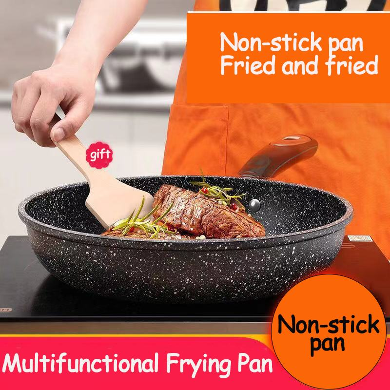 Medical Stone Pans 26cm Household Maifanshi Nonstick Frying Pan With Soft Resistant Handle Induction Cooker Gas Stove Universal