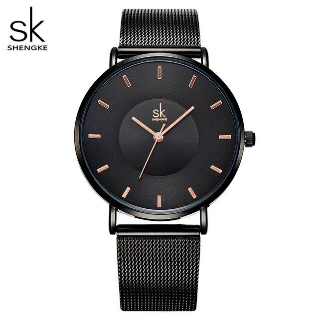 Ультра тонкие черные женские часы Shengke Montre Femme SK
