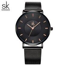 Shengke moda preto relógios femininos 2020 de alta qualidade ultra fino relógio quartzo mulher elegante vestido senhoras relógio montre femme sk